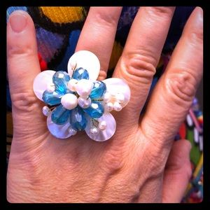 Vntg Shell Flower Adjustable Cocktail Ring 60s